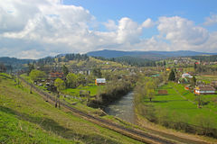 Village in carpathians - nature and travel Royalty Free Stock Image
