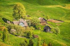 Village carpathien vert photographie stock
