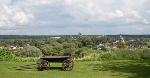 Village cart. The old cart on the expanses of Russia Stock Photos