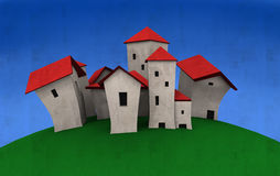 Village cartoony Houses. Illustration of village cartoony Houses textured Stock Photo