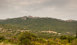 Village and castle French Pyrenees Royalty Free Stock Images