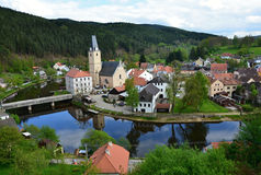 Village and castle Rosenberg in South Bohemia Stock Photography