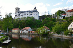 Village and castle Rosenberg in South Bohemia Royalty Free Stock Images