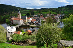 Village and castle Rosenberg in South Bohemia Stock Image