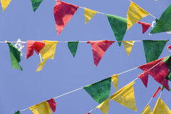 Village celebration flags. Flags in the wind in celebration day Stock Image