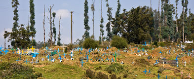 Village Cemetery. Christian cemetery in Tamil Nadu, India Stock Image