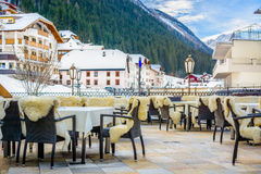 Village center of Ischgl, Austria. Royalty Free Stock Photography