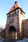 Village of Châtenois in Alsace. Medieval tower in the village of Châtenois in Alsace Stock Photo