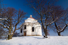 Village chapel in winter countryside Royalty Free Stock Photography