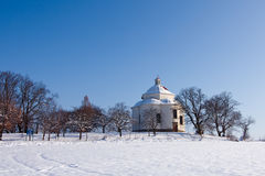 Village chapel in winter countryside Stock Images