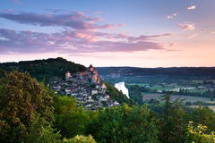 Village and chateau of Castlenaud Dordogne Perigord Noir France Royalty Free Stock Photo