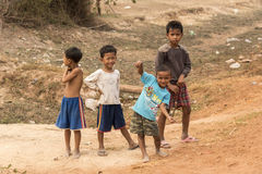 Village children Cambodia near Siem Reap Royalty Free Stock Photos