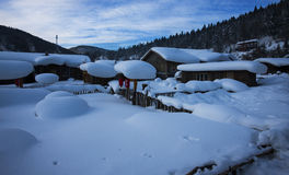 Village chinois de neige Photos stock