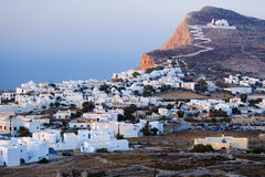 Chora village on Folegandros island. Picturesque town of Chora, a seaside village on the Island of Folegandros, Greece Royalty Free Stock Images