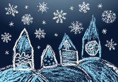 Village christmas landscape in snowfall. Like kids hand drawn crayon or pencil house in falling snowflakes. stock illustration