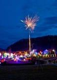 Village in Christmas lights fireworks. Croatia royalty free stock photo