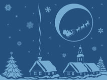 Village in Christmas night Stock Photography