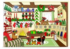 The Village Christmas Shop Stock Images