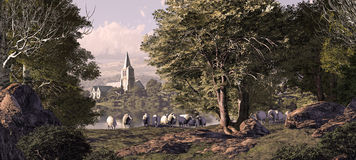 Village Church. A village church in the distance with sheep grazing in the foreground royalty free illustration