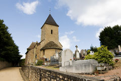 Village church and cemetery in France Stock Images