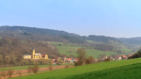 Village Church. Christian Church in Northern Bavaria in early spring 2013 in the countryside, shot in April Royalty Free Stock Photo