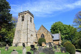 Village church and graveyard Stock Images