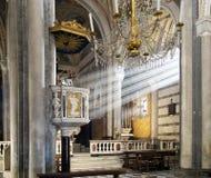 Village church interior, sunlight on pulpit - Corniglia, Cinque Royalty Free Stock Images