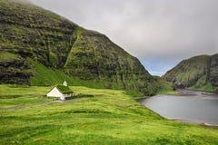 Village church and a lake in Saksun, Faroe Islands, Denmark