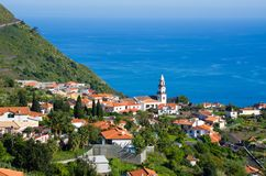 Village, church and ocean, Madeira, Portugal Stock Photography