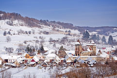Village and church in Transylvania Romania Stock Images