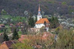 Village and Church in Transylvania Stock Photo