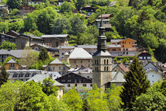 Village with a church Royalty Free Stock Photography