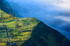 Village and Cliff at Bromo Volcano, Indonesia stock images