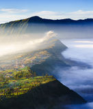 Village and Cliff at Bromo Volcano in Tengger Semeru, Java, Indo Royalty Free Stock Photography