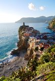 Picturesque village on steep cliff above sea.  Royalty Free Stock Photo