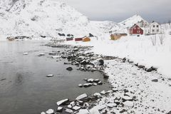 Village in coastal landscape Skjelfjord Flakstadoya Loftofen Norway Stock Images