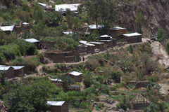 Village in the Colca Canyon. Andean Village in the Colca Canyon, Peru Royalty Free Stock Images