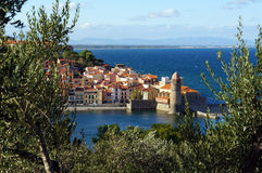 Village of Collioure on the Mediterranean sea Stock Photography