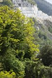 From the village of Colonnata you can enjoy wonderful views of the white Carrara marble quarries. Colonnata, Carrara, Tuscany, stock photos