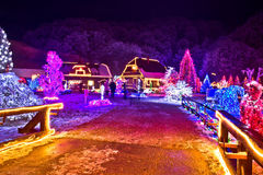Village in colorful christmas lights Royalty Free Stock Photos