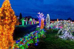 Village in colorful christmas lights stock photography
