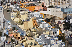 Village with colorful houses on greek island santorini Royalty Free Stock Image