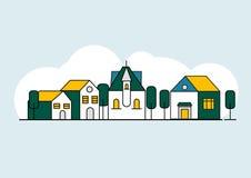 Colorful line houses set. countryside landscape vector illustration