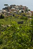 The village of Corniglia, Cinque Terre seen from a path on the hill overlooking the sea stock photo