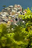 The village of Corniglia, Cinque Terre seen from a path on the hill overlooking the sea royalty free stock image