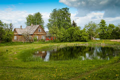 Village cottage. Near the pond at the sunny day. Many trees are growing around the cottage Stock Photos