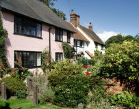 Village Cottages. Quaint Row of Terrcaed Cottages in an English Rural Village Royalty Free Stock Images