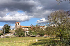 Village on countryside with church Royalty Free Stock Photography