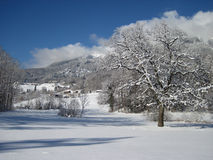 Village covered by snow. Piding Germany Royalty Free Stock Images