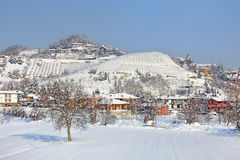 Village covered by snow in Piedmont, Italy. Royalty Free Stock Photo
